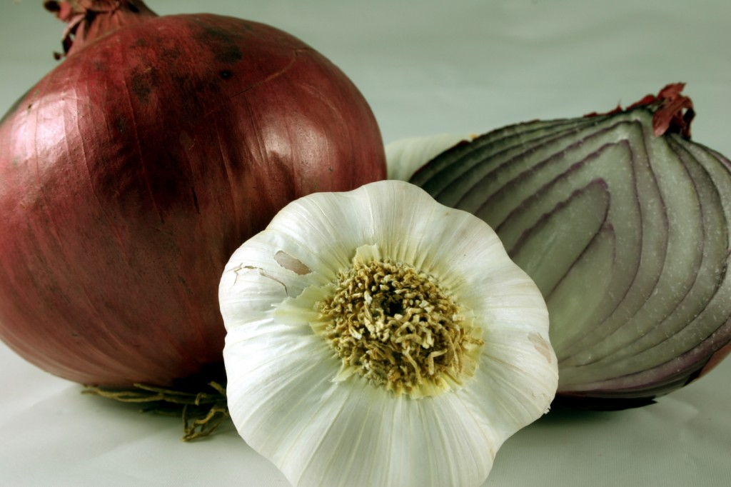 Onions and Garlic, 2 prebiotic foods that feed our probiotic bacteria.