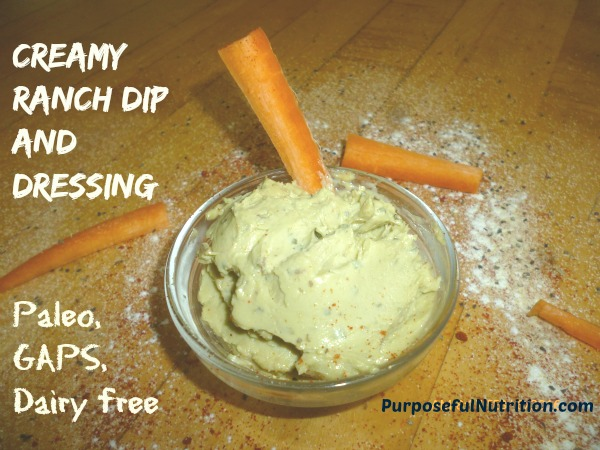 Creamy Ranch Dip and Dressing (GAPS, paleo, dairy free)